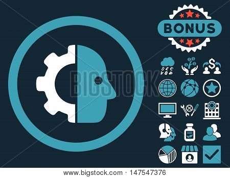Cyborg icon with bonus images. Vector illustration style is flat iconic bicolor symbols, blue and white colors, dark blue background.