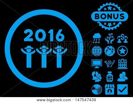 2016 Guys Dance icon with bonus pictogram. Vector illustration style is flat iconic symbols, blue color, black background.