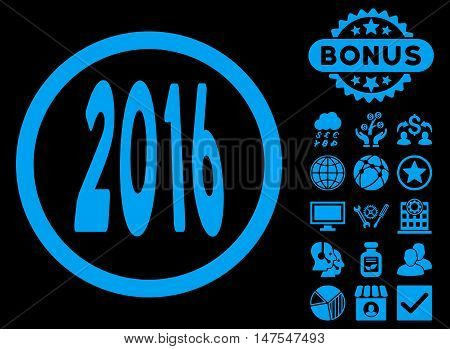 2016 Perspective icon with bonus design elements. Vector illustration style is flat iconic symbols, blue color, black background.