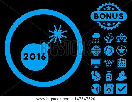 2016 Petard icon with bonus pictogram. Vector illustration style is flat iconic symbols, blue color, black background.