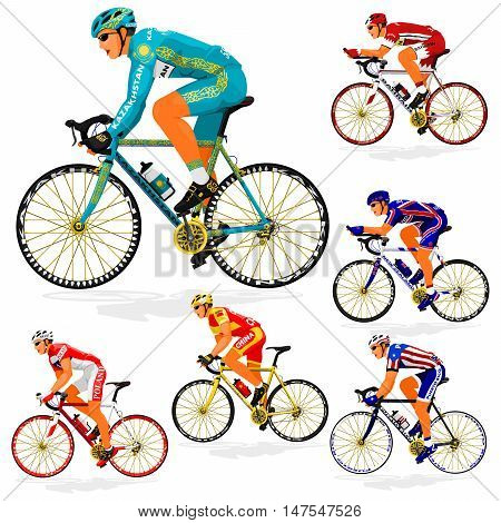 National Cyclist  of Bahrain,China,Kazakhstan,New Zealand,Poland,Puerto Rico on transparent background