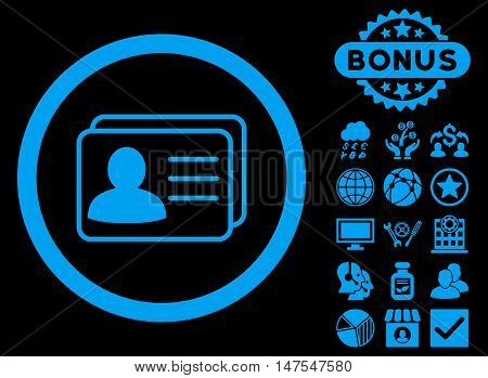 Account Cards icon with bonus pictogram. Vector illustration style is flat iconic symbols, blue color, black background.