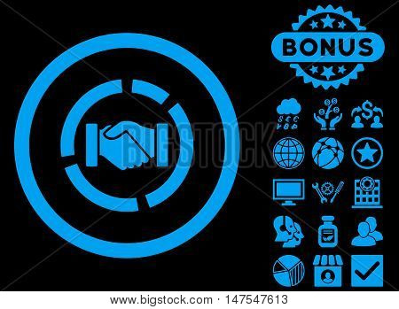 Acquisition Diagram icon with bonus pictogram. Vector illustration style is flat iconic symbols, blue color, black background.