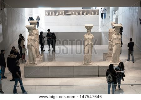 Athens, Greece - February 25, 2016: Interior View Of The New Acropolis Museum In Athens. Caryatids S