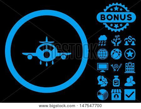 Aircraft icon with bonus symbols. Vector illustration style is flat iconic symbols, blue color, black background.
