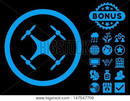 Airdrone icon with bonus images. Vector illustration style is flat iconic symbols, blue color, black background.