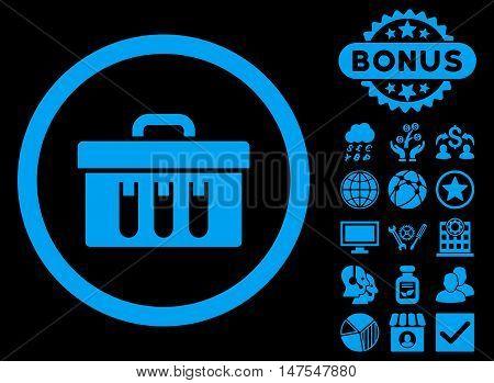 Analysis Box icon with bonus elements. Vector illustration style is flat iconic symbols, blue color, black background.