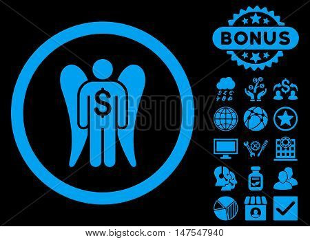 Angel Investor icon with bonus elements. Vector illustration style is flat iconic symbols, blue color, black background.