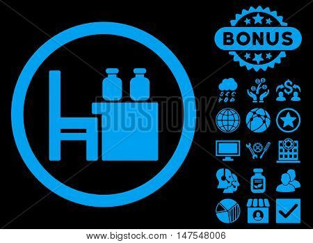 Apothecary Table icon with bonus design elements. Vector illustration style is flat iconic symbols, blue color, black background.