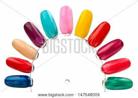 Samples of nail varnishes on a white background