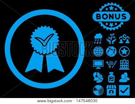Approvement Seal icon with bonus pictures. Vector illustration style is flat iconic symbols, blue color, black background.