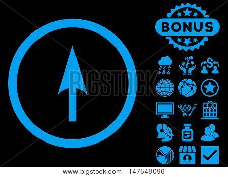 Arrow Axis Y icon with bonus design elements. Vector illustration style is flat iconic symbols, blue color, black background.