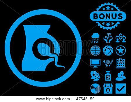 Artificial Insemination icon with bonus elements. Vector illustration style is flat iconic symbols, blue color, black background.