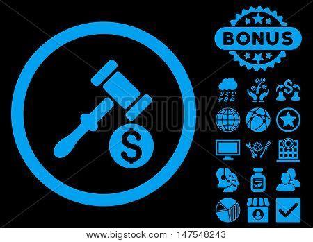 Auction icon with bonus design elements. Vector illustration style is flat iconic symbols, blue color, black background.