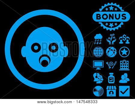 Baby Head icon with bonus symbols. Vector illustration style is flat iconic symbols, blue color, black background.