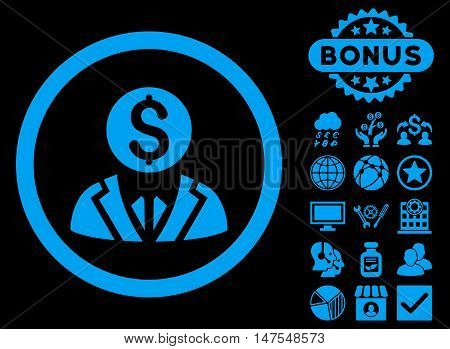 Banker icon with bonus images. Vector illustration style is flat iconic symbols, blue color, black background.