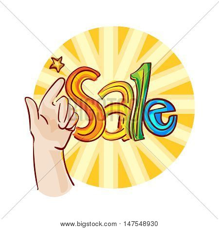 Sale banner. Vector sketchy hand drawn illustration. Isolated on white