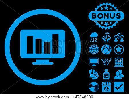 Bar Chart Monitoring icon with bonus design elements. Vector illustration style is flat iconic symbols, blue color, black background.