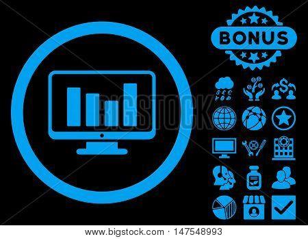 Bar Chart Monitoring icon with bonus elements. Vector illustration style is flat iconic symbols, blue color, black background.