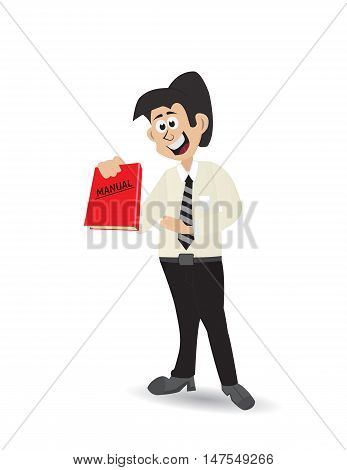 illustration cartoon character holding manual book isolated