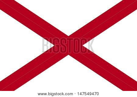 Flag of the US state of Alabama in correct size proportions and colors. Alabamian official symbol. American patriotic element. USA banner. United States of America background. Vector illustration