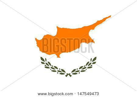 Flag of Cyprus correct size proportions and colors. Accurate official standard dimensions. Cypriot national flag. Republic of Cyprus patriotic symbol banner element background. Vector illustration