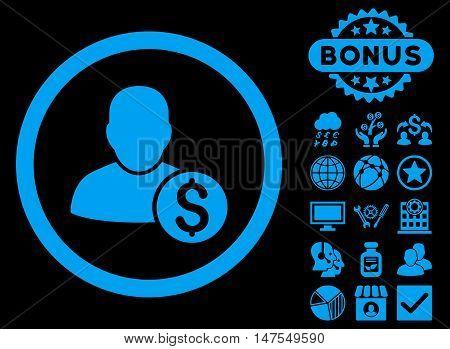 Businessman icon with bonus pictogram. Vector illustration style is flat iconic symbols, blue color, black background.