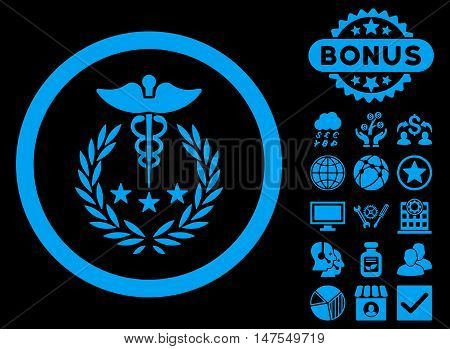 Caduceus Logo icon with bonus images. Vector illustration style is flat iconic symbols, blue color, black background.