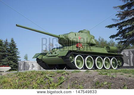 SAINT PETERSBURG, RUSSIA - JUNE 29, 2015: Tank T-34-85 close up. Memorial