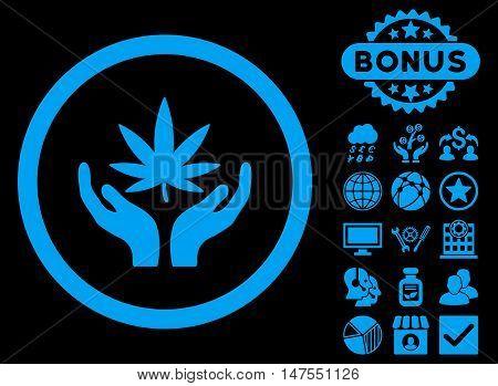 Cannabis Care Hands icon with bonus symbols. Vector illustration style is flat iconic symbols, blue color, black background.