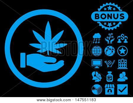 Cannabis Offer Hand icon with bonus design elements. Vector illustration style is flat iconic symbols, blue color, black background.