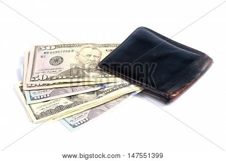 paper money dollars in old leather purse