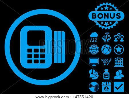 Card Processor icon with bonus elements. Vector illustration style is flat iconic symbols, blue color, black background.