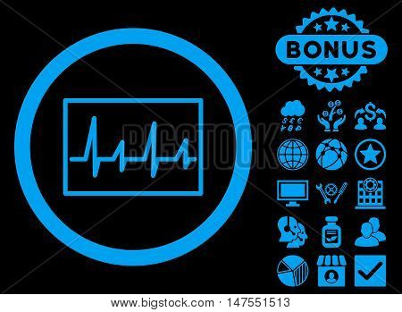 Cardiogram icon with bonus design elements. Vector illustration style is flat iconic symbols, blue color, black background.