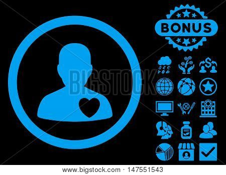 Cardiology Patient icon with bonus images. Vector illustration style is flat iconic symbols, blue color, black background.