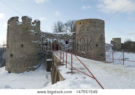 Ancient Koporye fortress, the winter night. Leningrad region, Russia