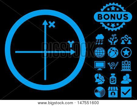 Cartesian Axis icon with bonus design elements. Vector illustration style is flat iconic symbols, blue color, black background.