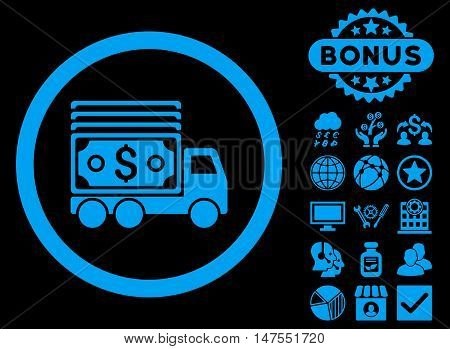 Cash Lorry icon with bonus pictogram. Vector illustration style is flat iconic symbols, blue color, black background.