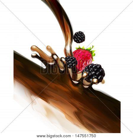 blackberries strawberries chocolate splashes vector diet, eat, fall, food, apricot