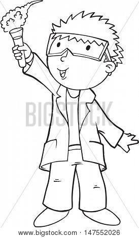 Doodle Scientist Vector Illustration Art