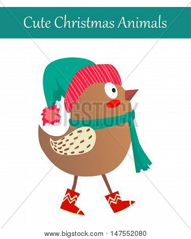 Cute Merry Christmas Animal Illustration. Festive Cold Holidays Theme. Colorful Bird Wearing Warm Winter Clothes: Hat, Boots and Scarf