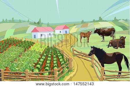 cow horse farm cabbage vector garden, set, turkey, rooster, design
