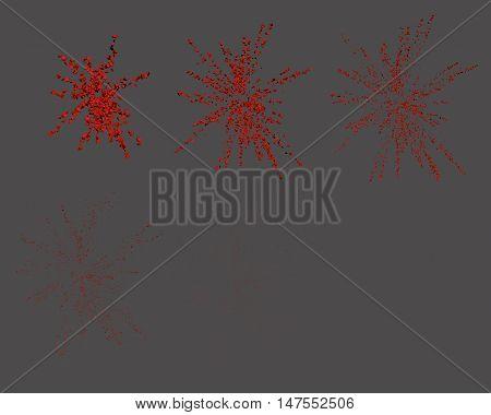 Exploding fireworks. Explosion animation. Confetti. Vector illustration.