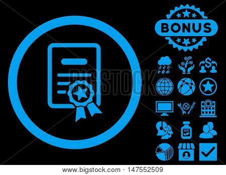 Certified Diploma icon with bonus images. Vector illustration style is flat iconic symbols, blue color, black background.