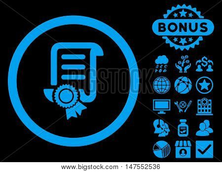 Certified Scroll Document icon with bonus pictures. Vector illustration style is flat iconic symbols, blue color, black background.