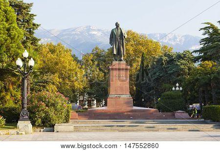 YALTA, CRIMEA - SEPTEMBER 5, 2016: Photo of monument to Vladimir Lenin.