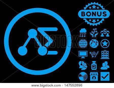 Chemical Formula icon with bonus design elements. Vector illustration style is flat iconic symbols, blue color, black background.