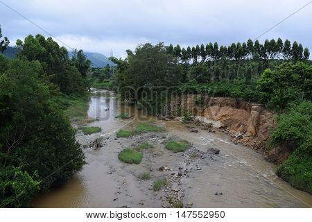 tropical river erosion in vietnam with alluvial