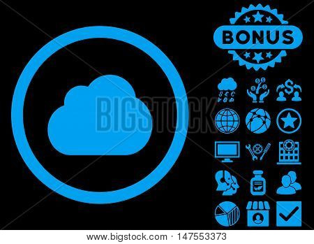 Cloud icon with bonus elements. Vector illustration style is flat iconic symbols, blue color, black background.