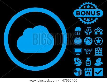 Cloud icon with bonus design elements. Vector illustration style is flat iconic symbols, blue color, black background.